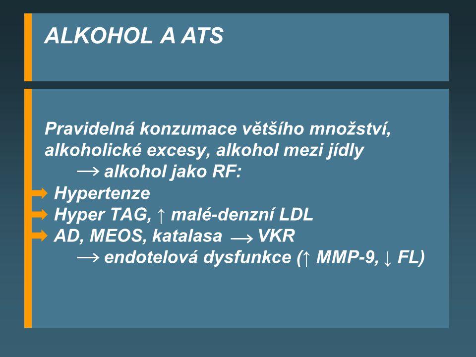 ALKOHOL A ATS Pravidelná konzumace většího množství,