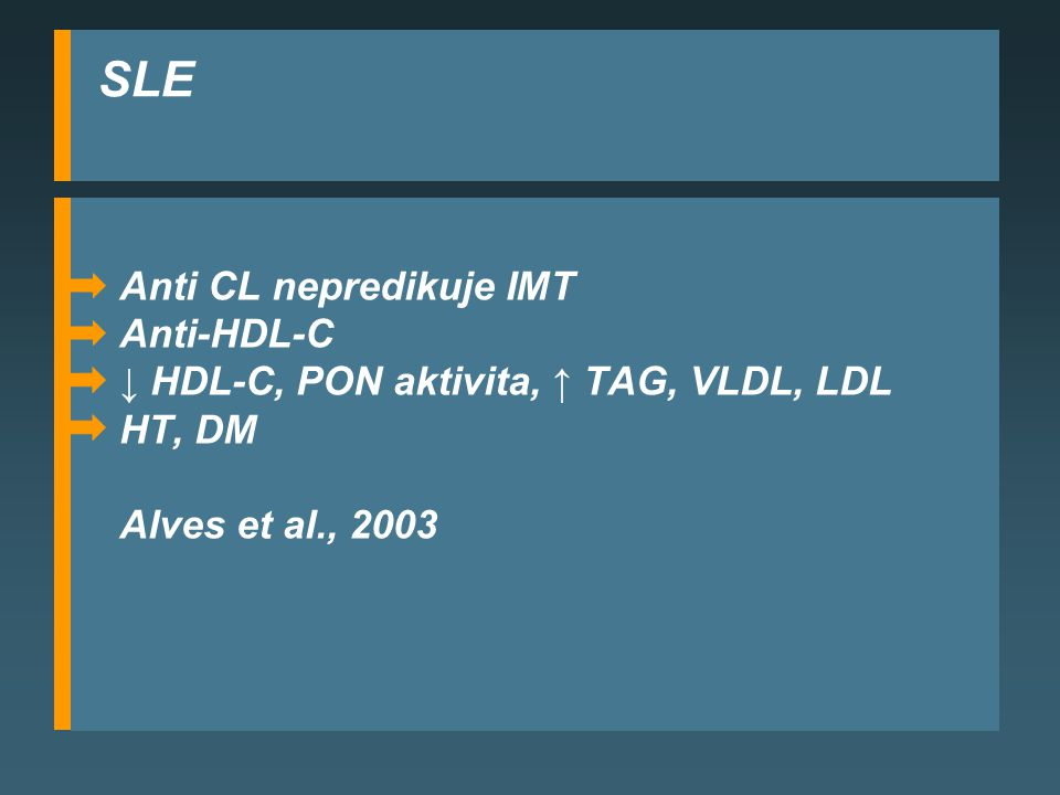SLE Anti CL nepredikuje IMT Anti-HDL-C
