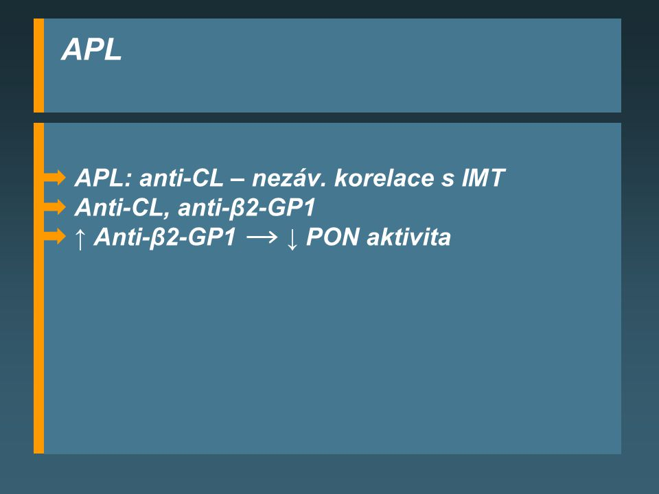 APL APL: anti-CL – nezáv. korelace s IMT Anti-CL, anti-β2-GP1