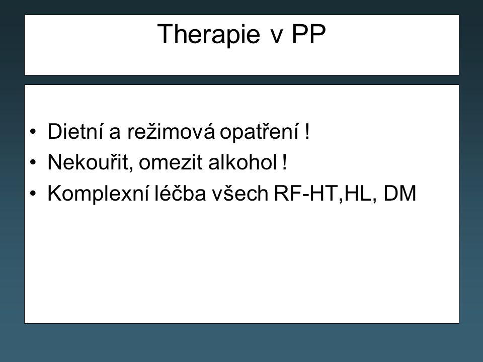 Therapie v PP Dietní a režimová opatření ! Nekouřit, omezit alkohol !