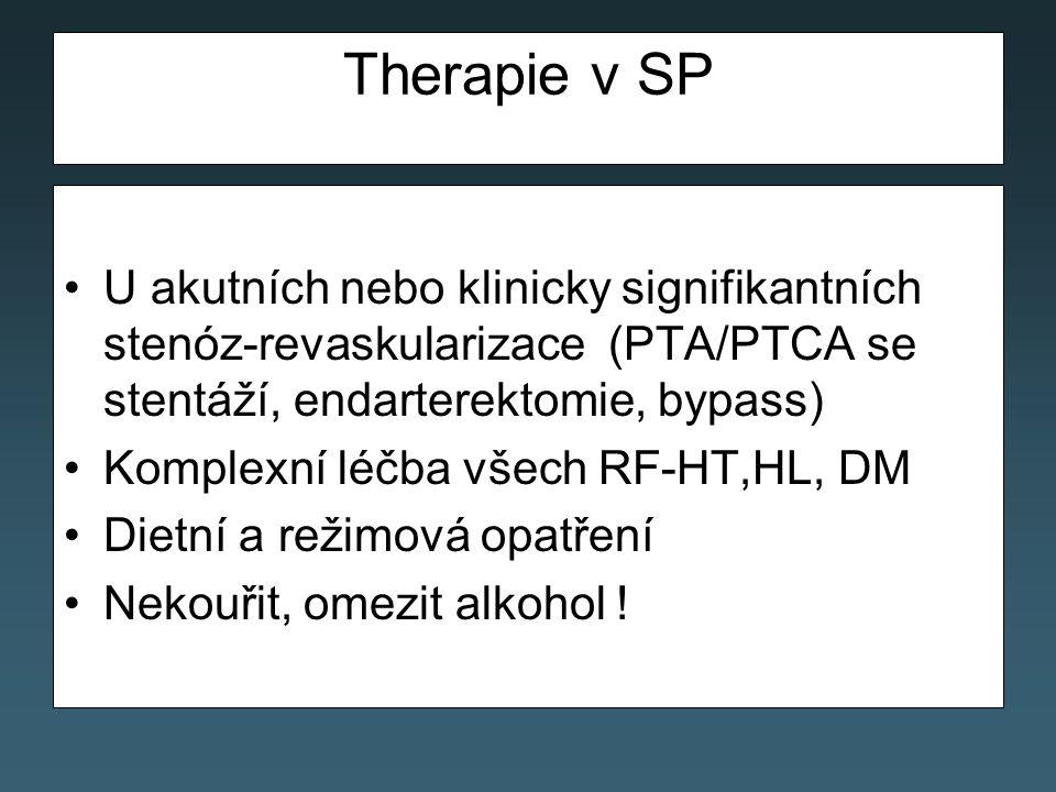 Therapie v SP U akutních nebo klinicky signifikantních stenóz-revaskularizace (PTA/PTCA se stentáží, endarterektomie, bypass)