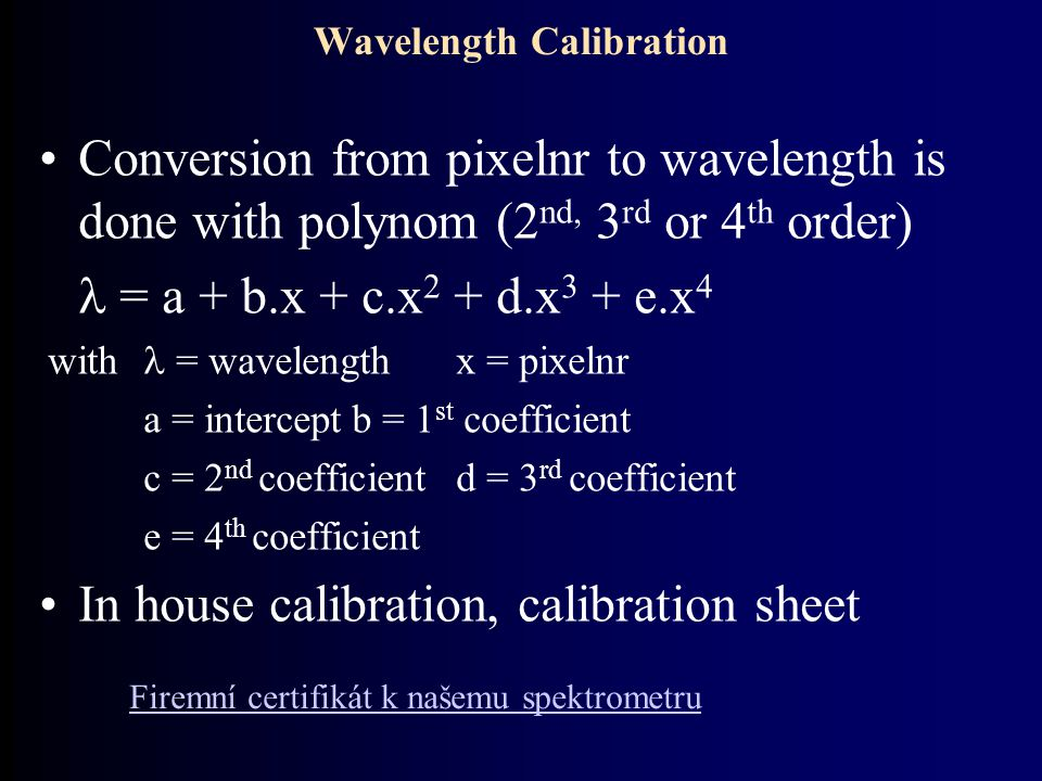 Wavelength Calibration