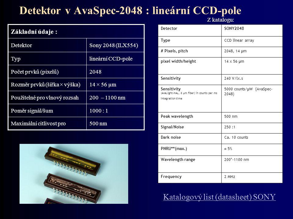 Detektor v AvaSpec-2048 : lineární CCD-pole
