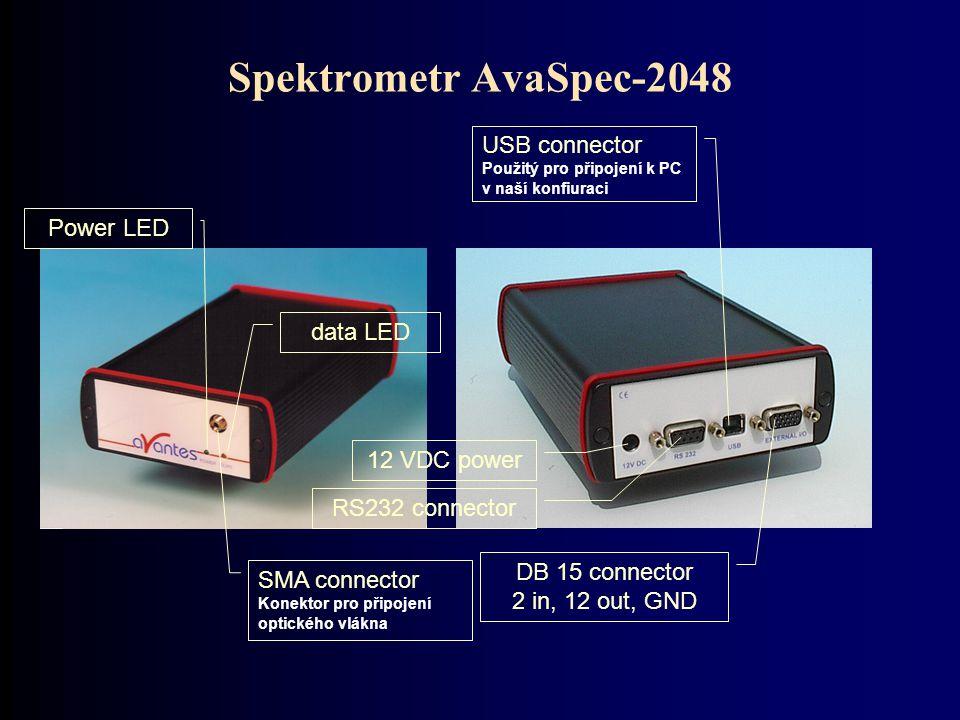 Spektrometr AvaSpec-2048 USB connector Použitý pro připojení k PC v naší konfiuraci. Power LED. data LED.