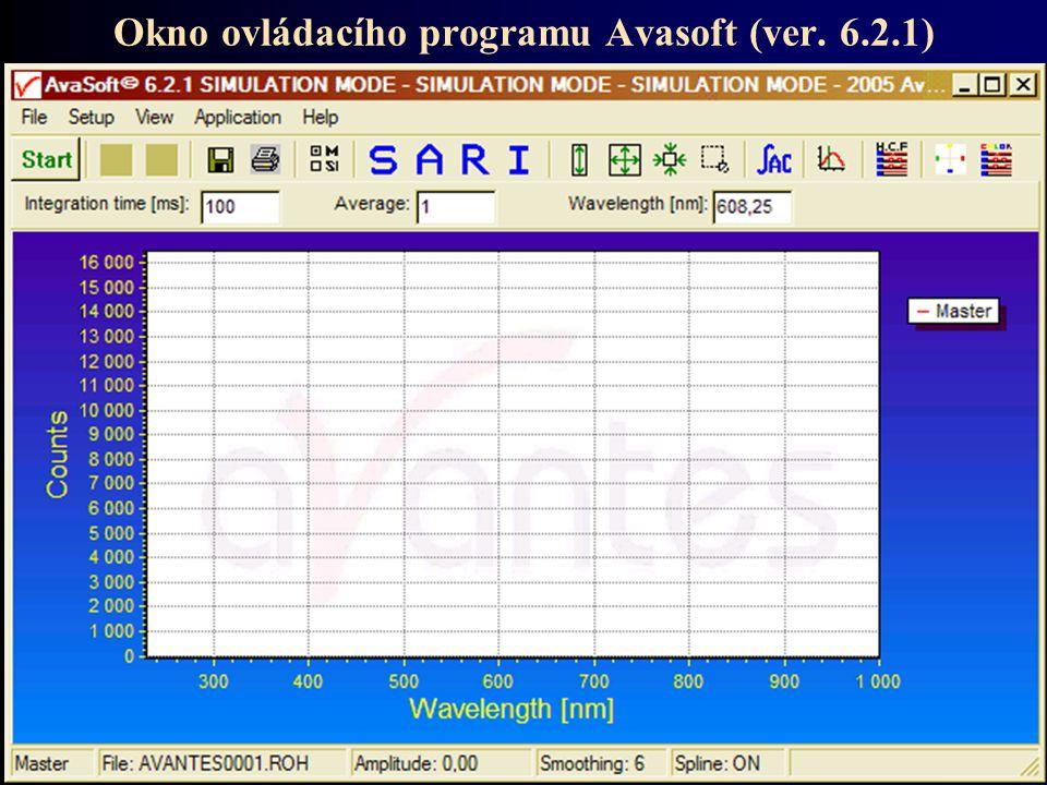 Okno ovládacího programu Avasoft (ver. 6.2.1)
