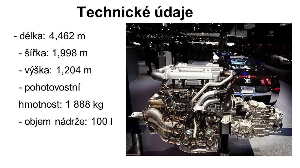 Technické údaje - délka: 4,462 m - šířka: 1,998 m - výška: 1,204 m - pohotovostní hmotnost: 1 888 kg - objem nádrže: 100 l.