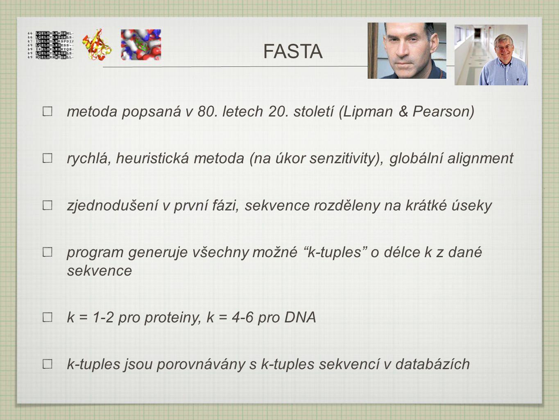 FASTA metoda popsaná v 80. letech 20. století (Lipman & Pearson)