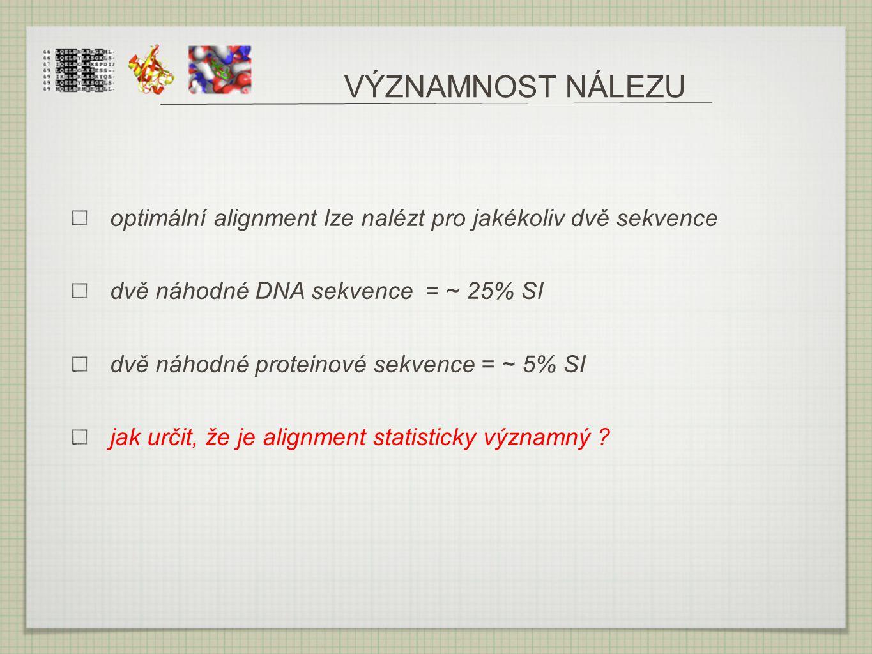 VÝZNAMNOST NÁLEZU optimální alignment lze nalézt pro jakékoliv dvě sekvence. dvě náhodné DNA sekvence = ~ 25% SI.