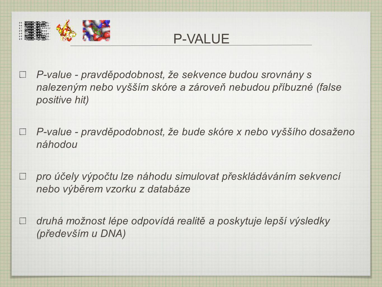 P-VALUE P-value - pravděpodobnost, že sekvence budou srovnány s nalezeným nebo vyšším skóre a zároveň nebudou příbuzné (false positive hit)