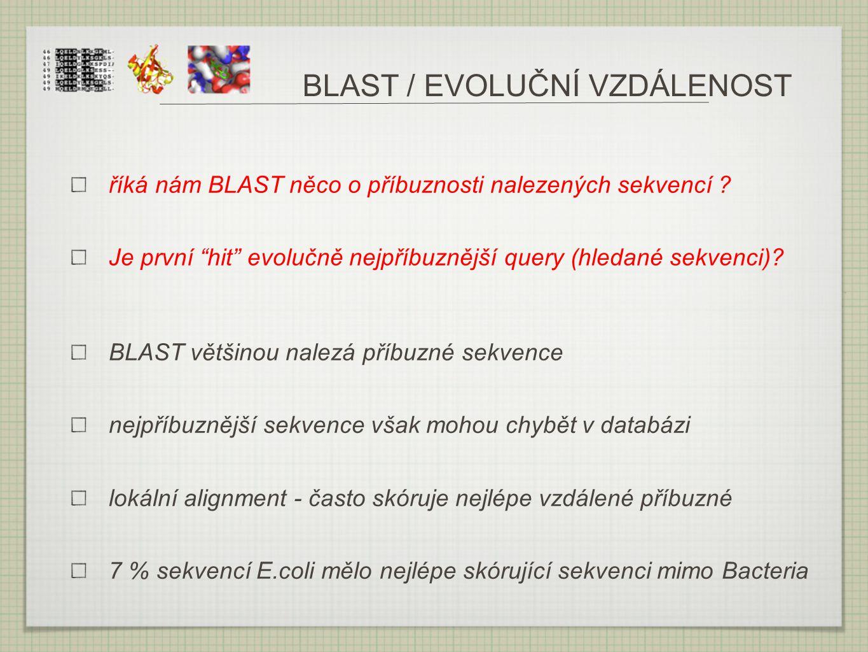 BLAST / EVOLUČNÍ VZDÁLENOST