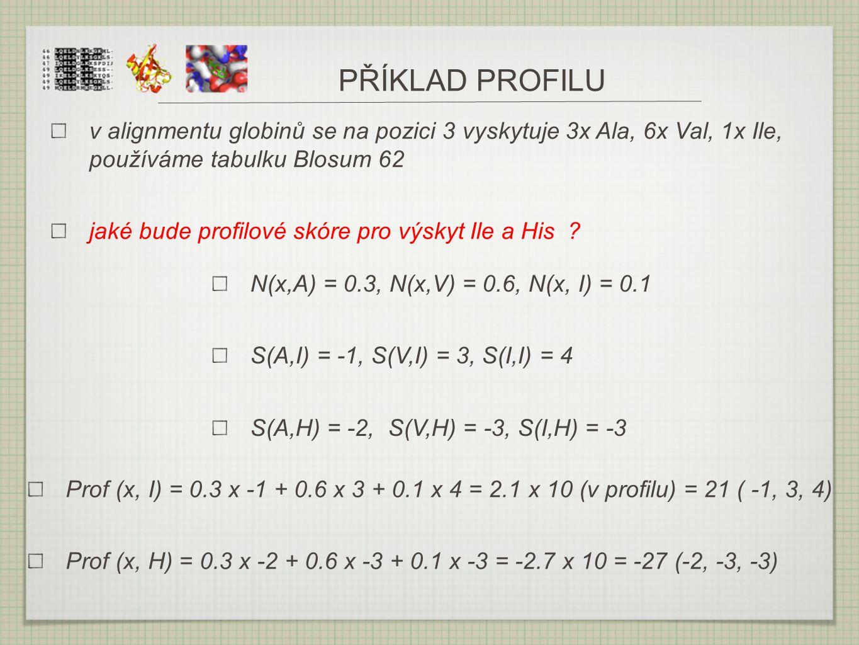 PŘÍKLAD PROFILU v alignmentu globinů se na pozici 3 vyskytuje 3x Ala, 6x Val, 1x Ile, používáme tabulku Blosum 62.