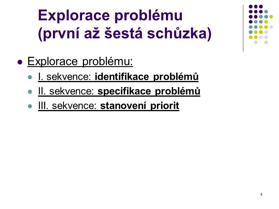 Explorace problému (první až šestá schůzka)