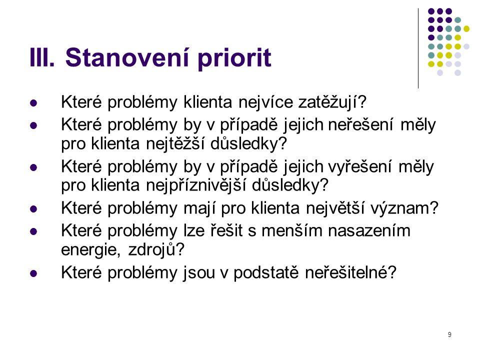 III. Stanovení priorit Které problémy klienta nejvíce zatěžují