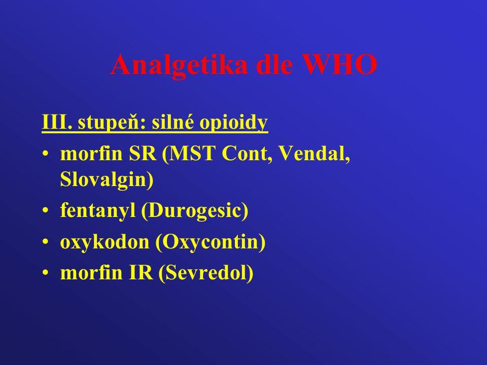 Analgetika dle WHO III. stupeň: silné opioidy