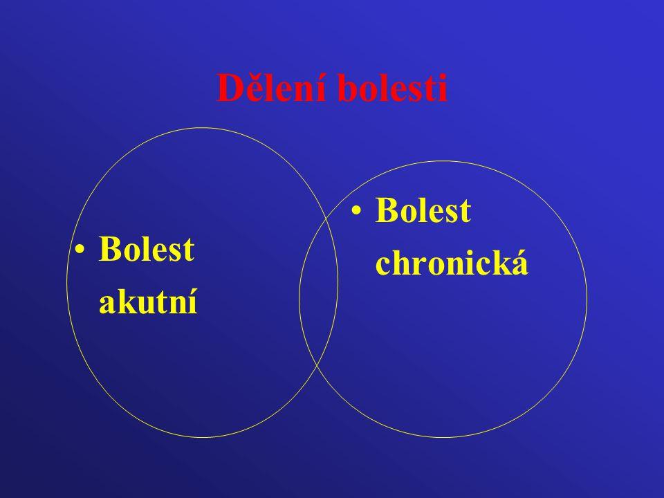 Dělení bolesti Bolest chronická Bolest akutní