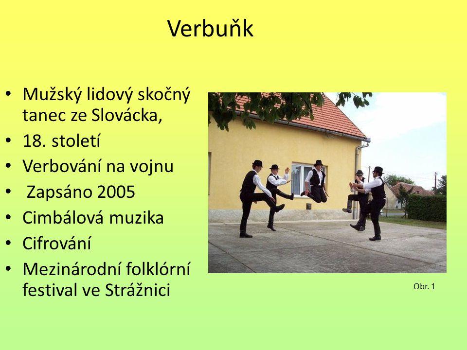 Verbuňk Mužský lidový skočný tanec ze Slovácka, 18. století