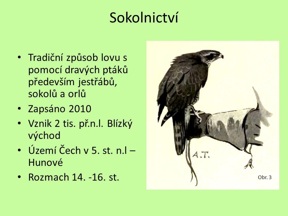 Sokolnictví Tradiční způsob lovu s pomocí dravých ptáků především jestřábů, sokolů a orlů. Zapsáno 2010.