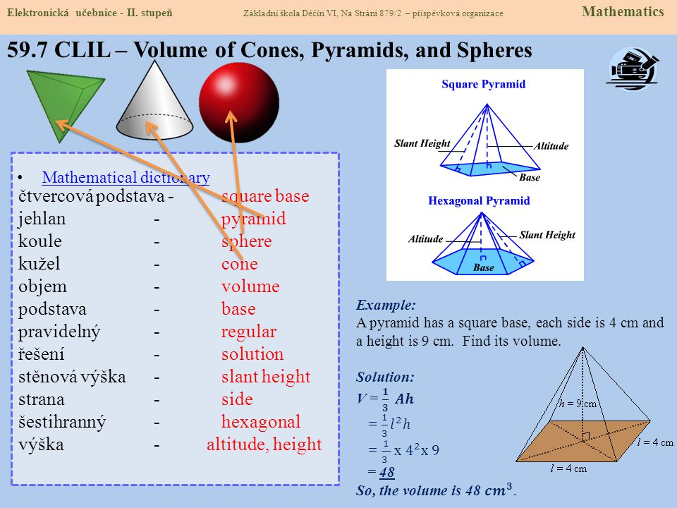 59.7 CLIL – Volume of Cones, Pyramids, and Spheres