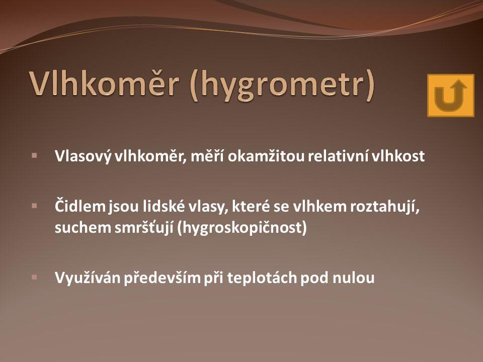 Vlhkoměr (hygrometr) Vlasový vlhkoměr, měří okamžitou relativní vlhkost.