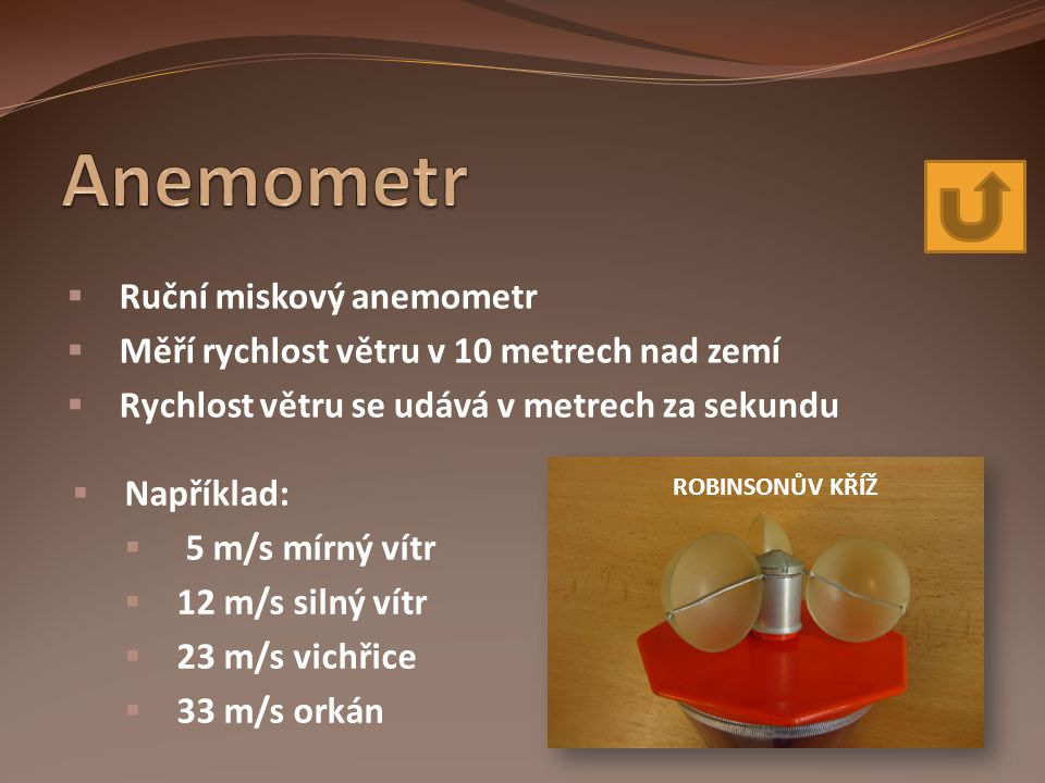 Anemometr Ruční miskový anemometr