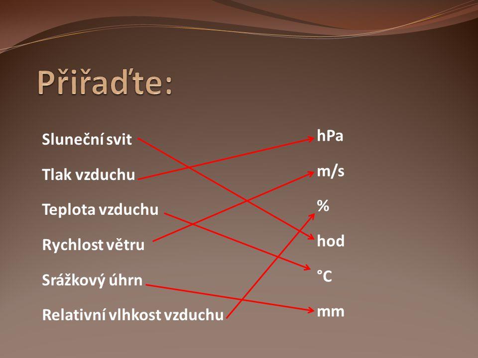 Přiřaďte: hPa Sluneční svit m/s Tlak vzduchu % Teplota vzduchu hod