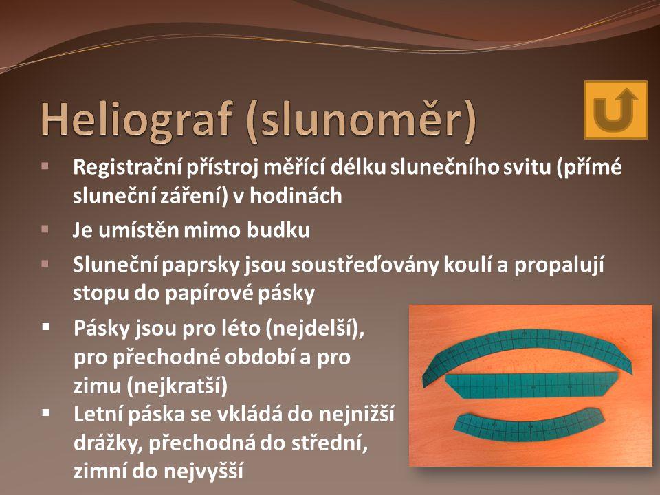 Heliograf (slunoměr) Registrační přístroj měřící délku slunečního svitu (přímé sluneční záření) v hodinách.