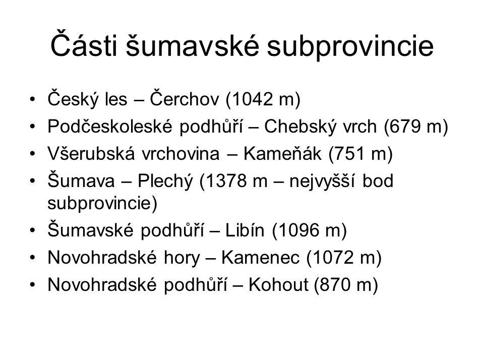 Části šumavské subprovincie