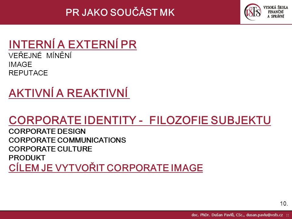 CORPORATE IDENTITY - FILOZOFIE SUBJEKTU