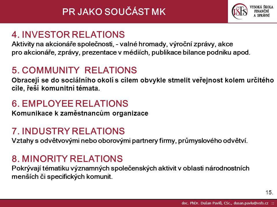 PR JAKO SOUČÁST MK 4. INVESTOR RELATIONS 5. COMMUNITY RELATIONS