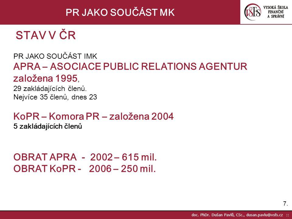 STAV V ČR PR JAKO SOUČÁST MK APRA – ASOCIACE PUBLIC RELATIONS AGENTUR