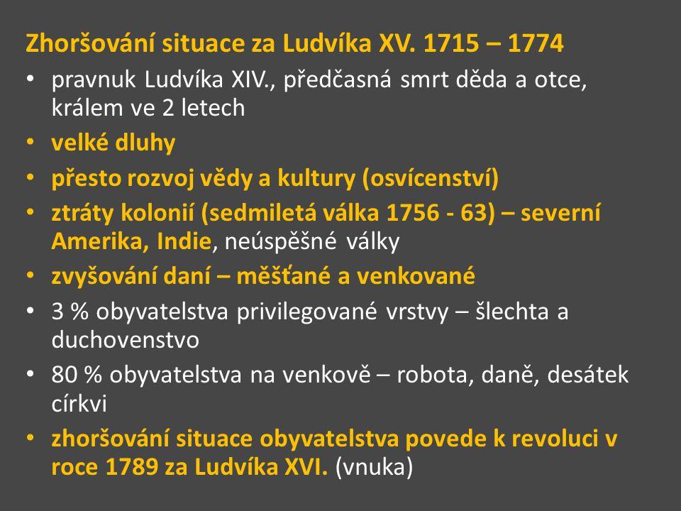 Zhoršování situace za Ludvíka XV. 1715 – 1774