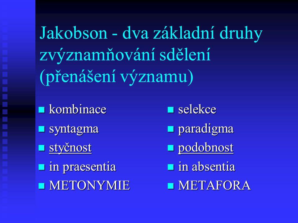 Jakobson - dva základní druhy zvýznamňování sdělení (přenášení významu)