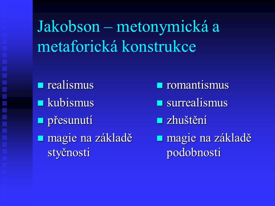 Jakobson – metonymická a metaforická konstrukce