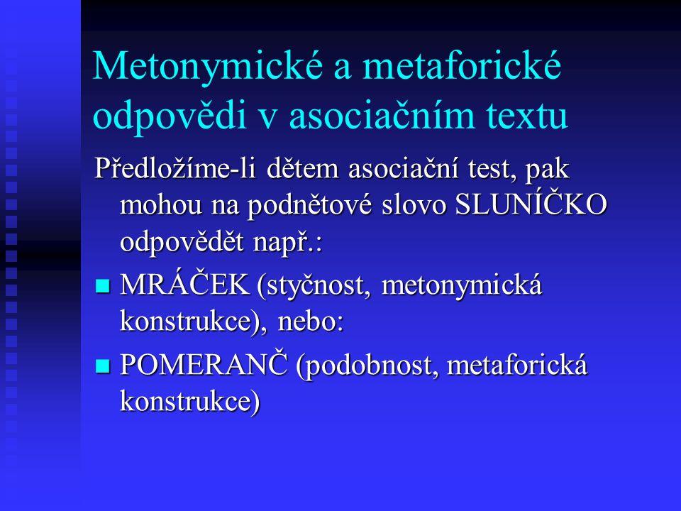 Metonymické a metaforické odpovědi v asociačním textu