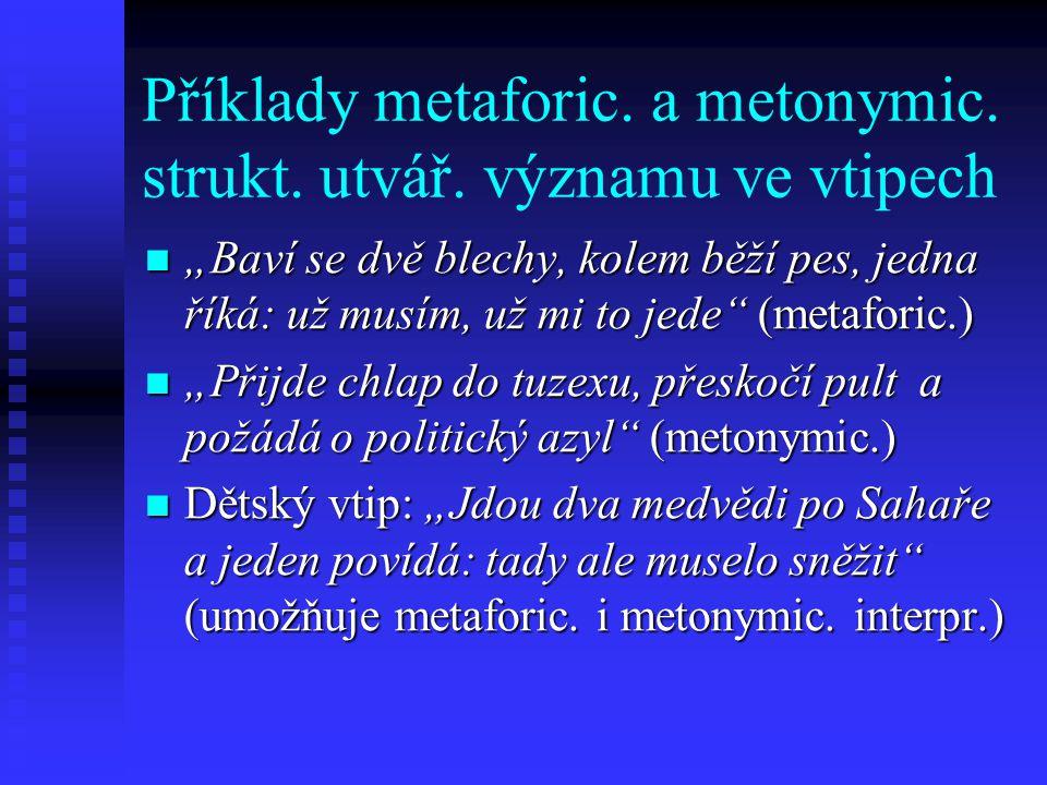 Příklady metaforic. a metonymic. strukt. utvář. významu ve vtipech