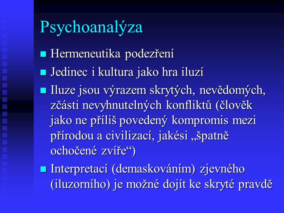 Psychoanalýza Hermeneutika podezření Jedinec i kultura jako hra iluzí