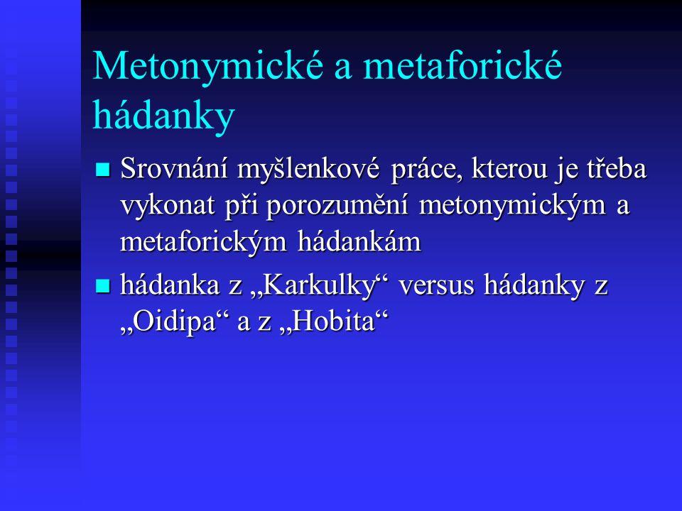 Metonymické a metaforické hádanky