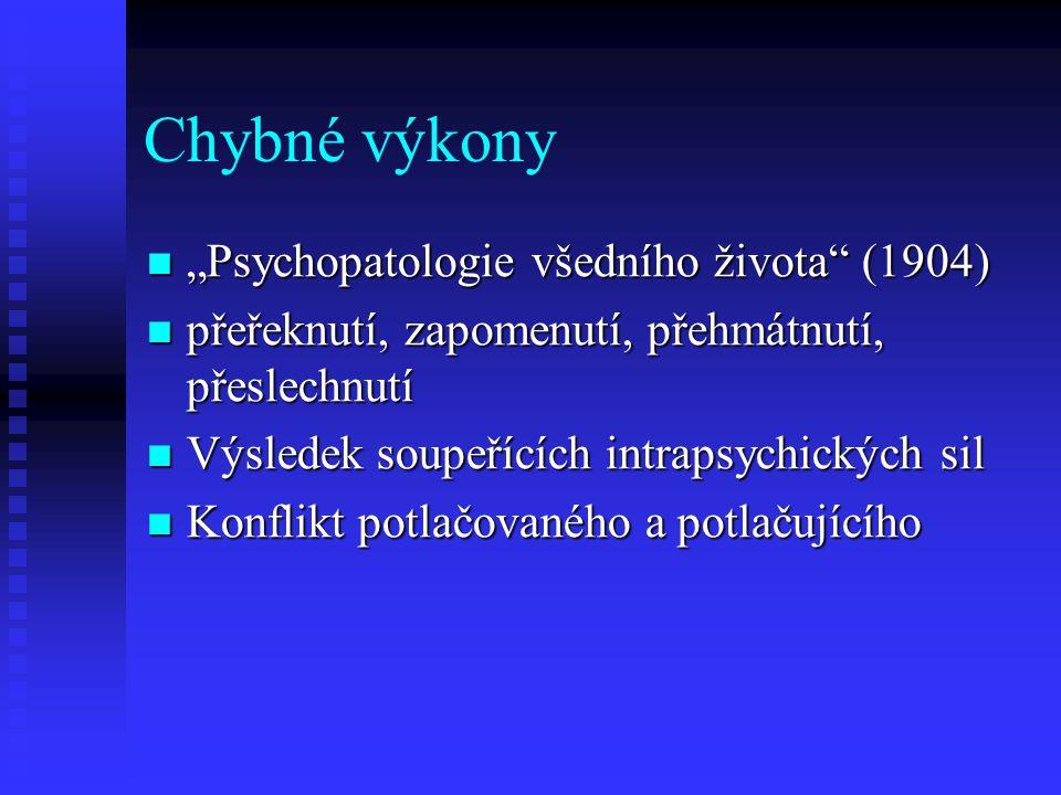 """Chybné výkony """"Psychopatologie všedního života (1904)"""