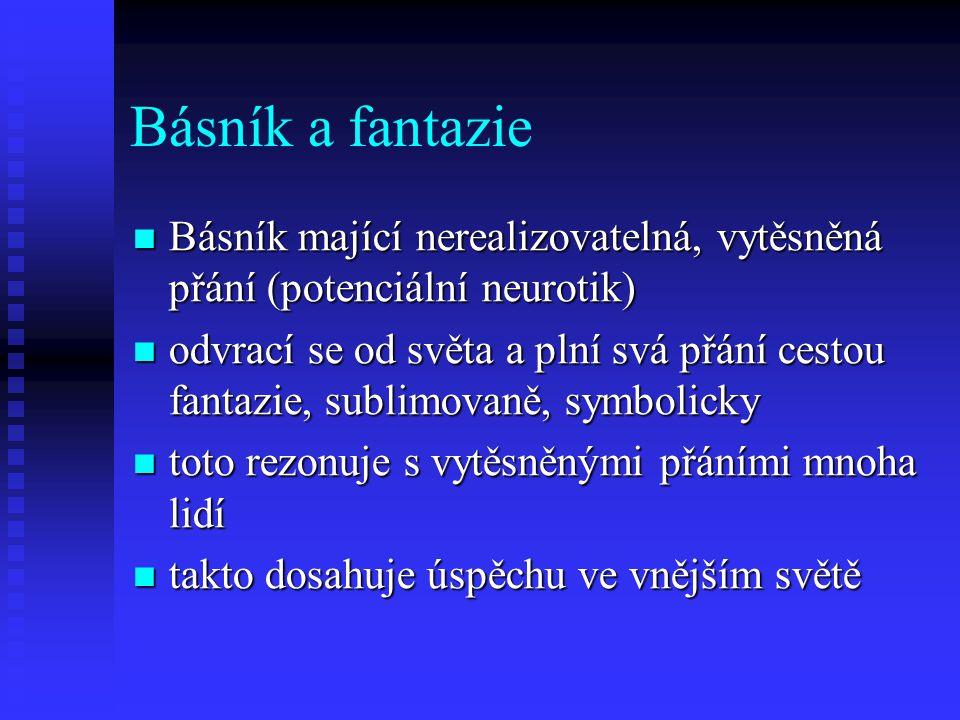 Básník a fantazie Básník mající nerealizovatelná, vytěsněná přání (potenciální neurotik)