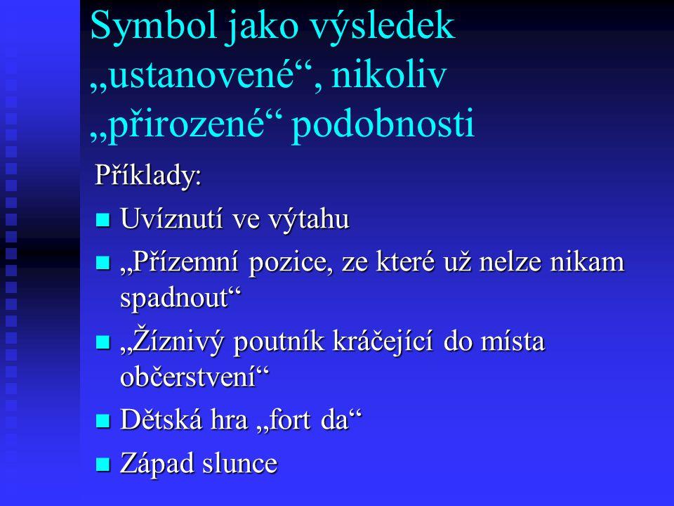 """Symbol jako výsledek """"ustanovené , nikoliv """"přirozené podobnosti"""