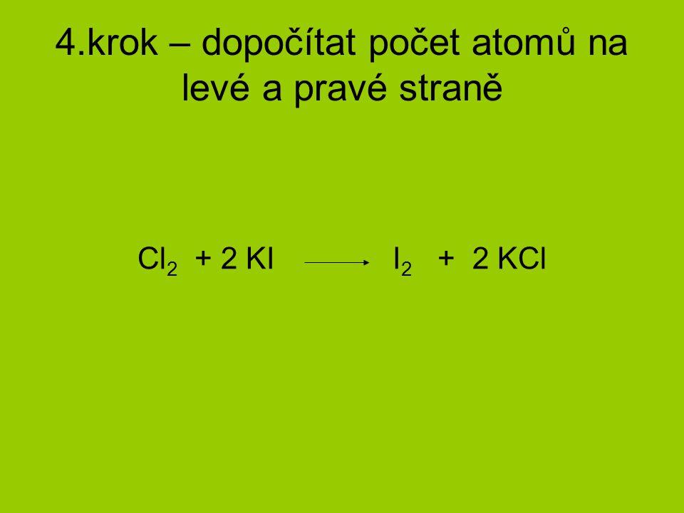 4.krok – dopočítat počet atomů na levé a pravé straně