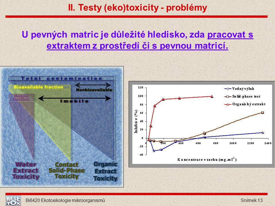 II. Testy (eko)toxicity - problémy