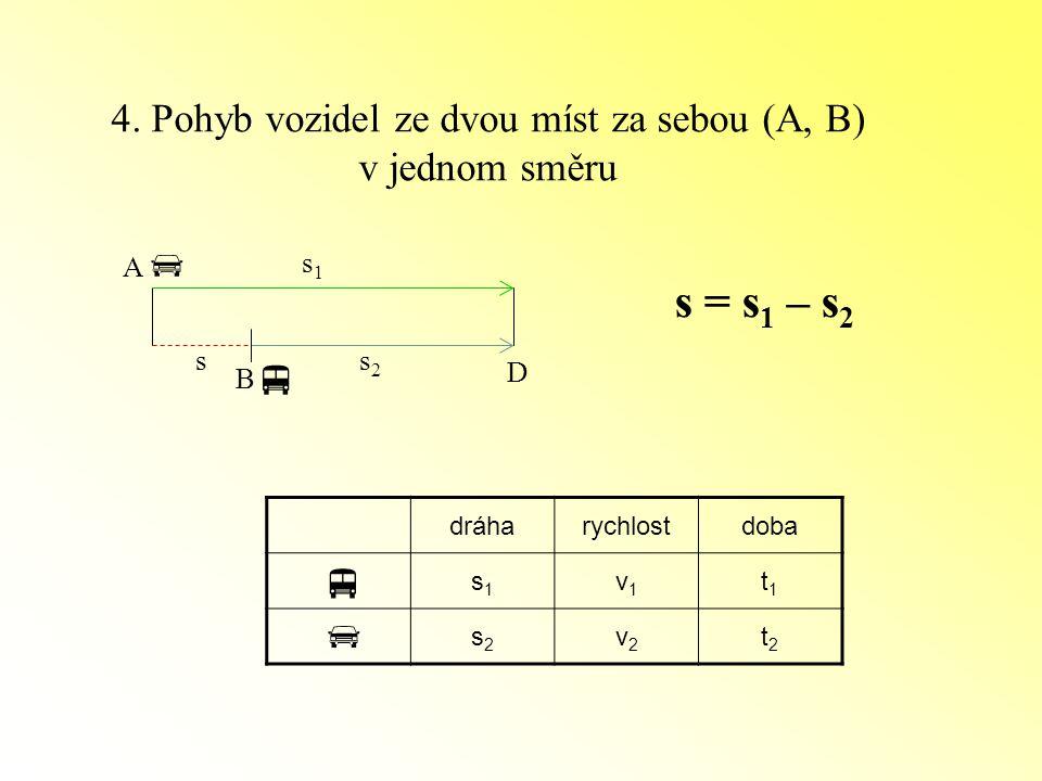 4. Pohyb vozidel ze dvou míst za sebou (A, B)
