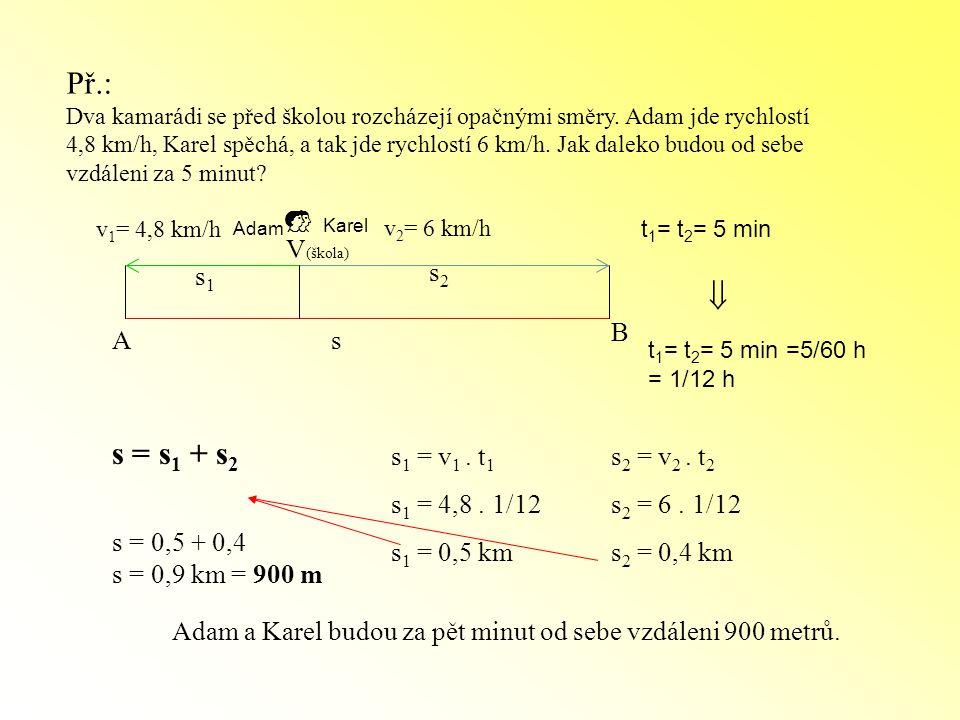 Př.:  s = s1 + s2 V(škola) s1 s2 B A s s1 = v1 . t1 s1 = 4,8 . 1/12
