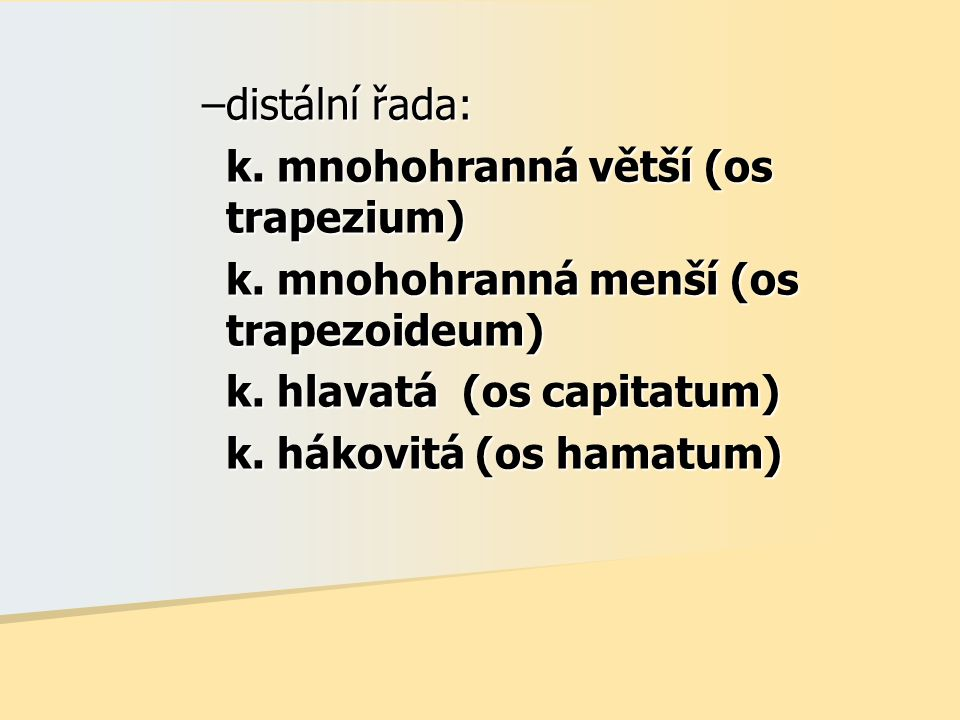 distální řada: k. mnohohranná větší (os trapezium) k. mnohohranná menší (os trapezoideum) k. hlavatá (os capitatum)