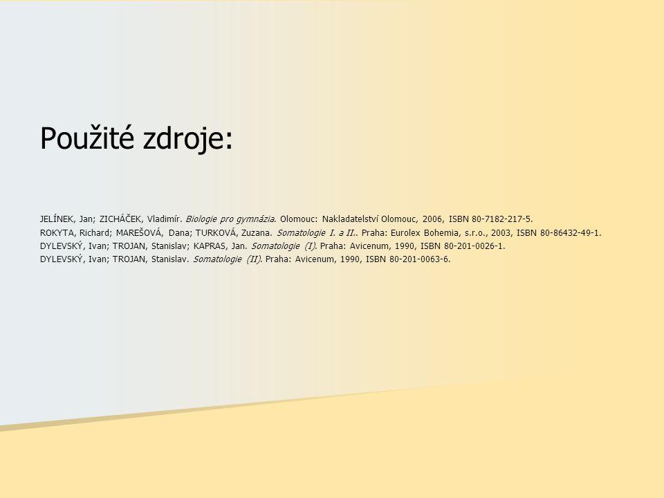 Použité zdroje: JELÍNEK, Jan; ZICHÁČEK, Vladimír. Biologie pro gymnázia. Olomouc: Nakladatelství Olomouc, 2006, ISBN 80-7182-217-5.