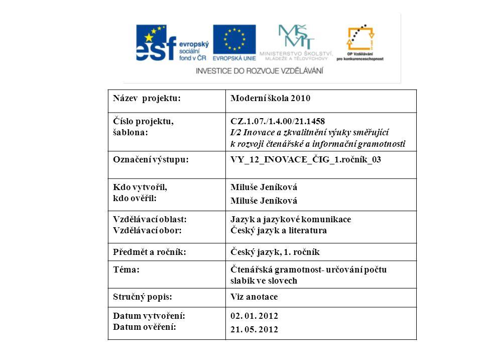 Název projektu: Moderní škola 2010. Číslo projektu, šablona: CZ.1.07./1.4.00/21.1458.