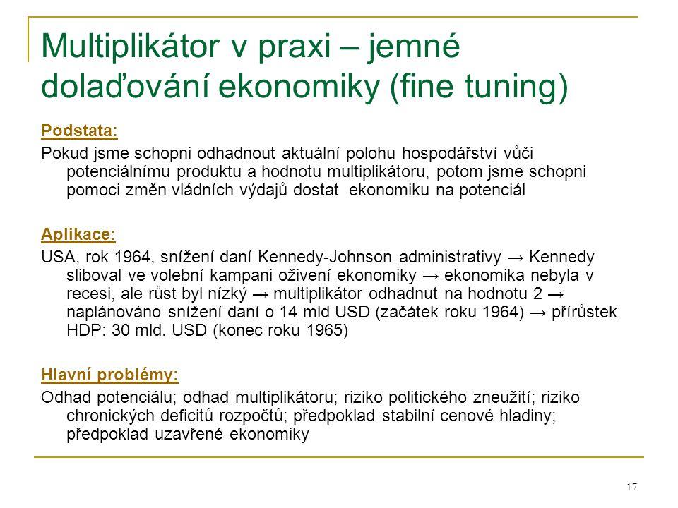 Multiplikátor v praxi – jemné dolaďování ekonomiky (fine tuning)