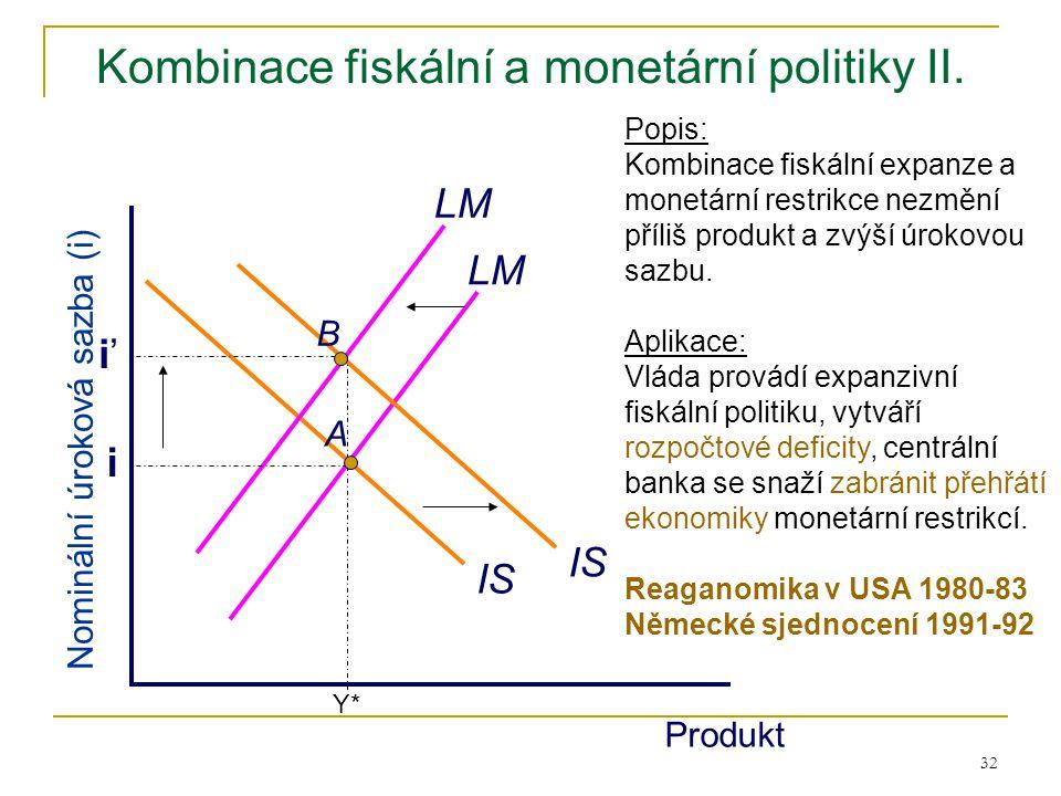 Kombinace fiskální a monetární politiky II.
