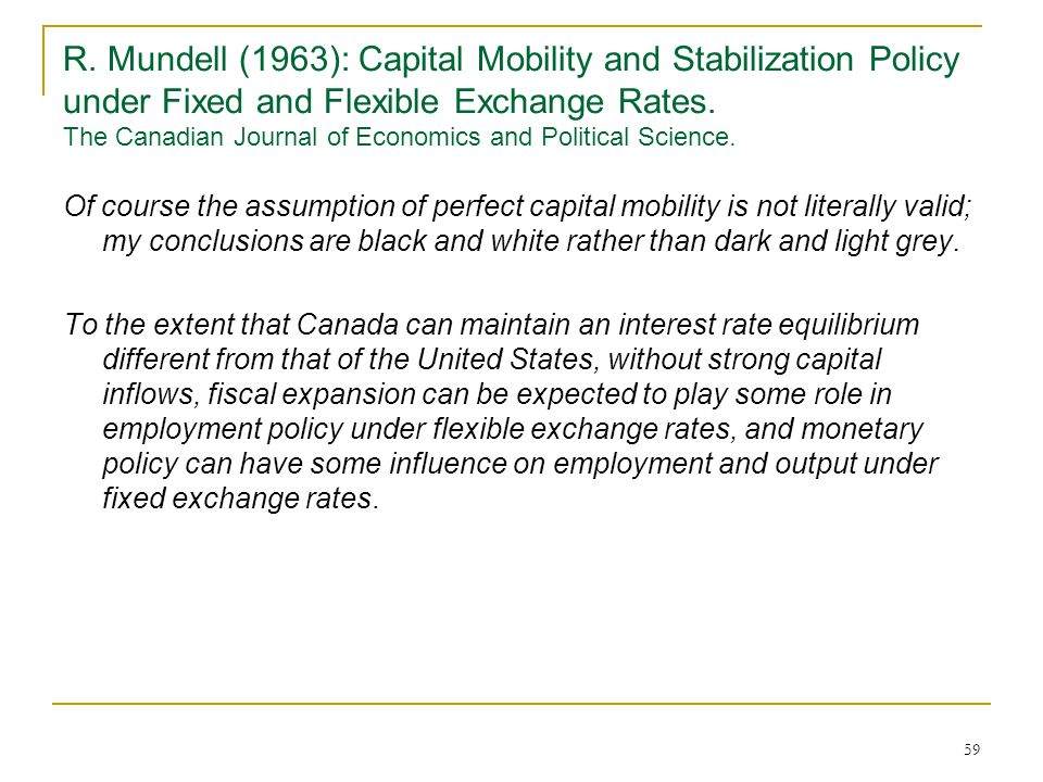 R. Mundell (1963): Capital Mobility and Stabilization Policy under Fixed and Flexible Exchange Rates. The Canadian Journal of Economics and Political Science.